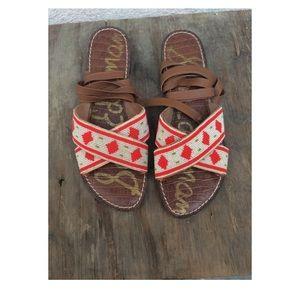 Sam Edelman Luisa Beaded Sandals Saddle White